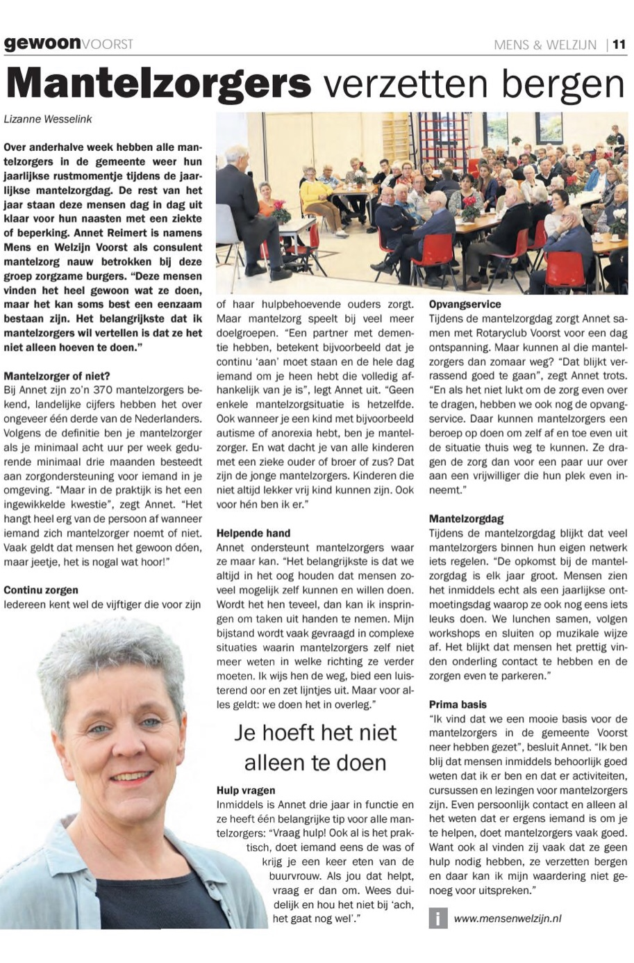 Gewoon voorst interview Annet Reimert mens en welzijn voorst mantelzorg