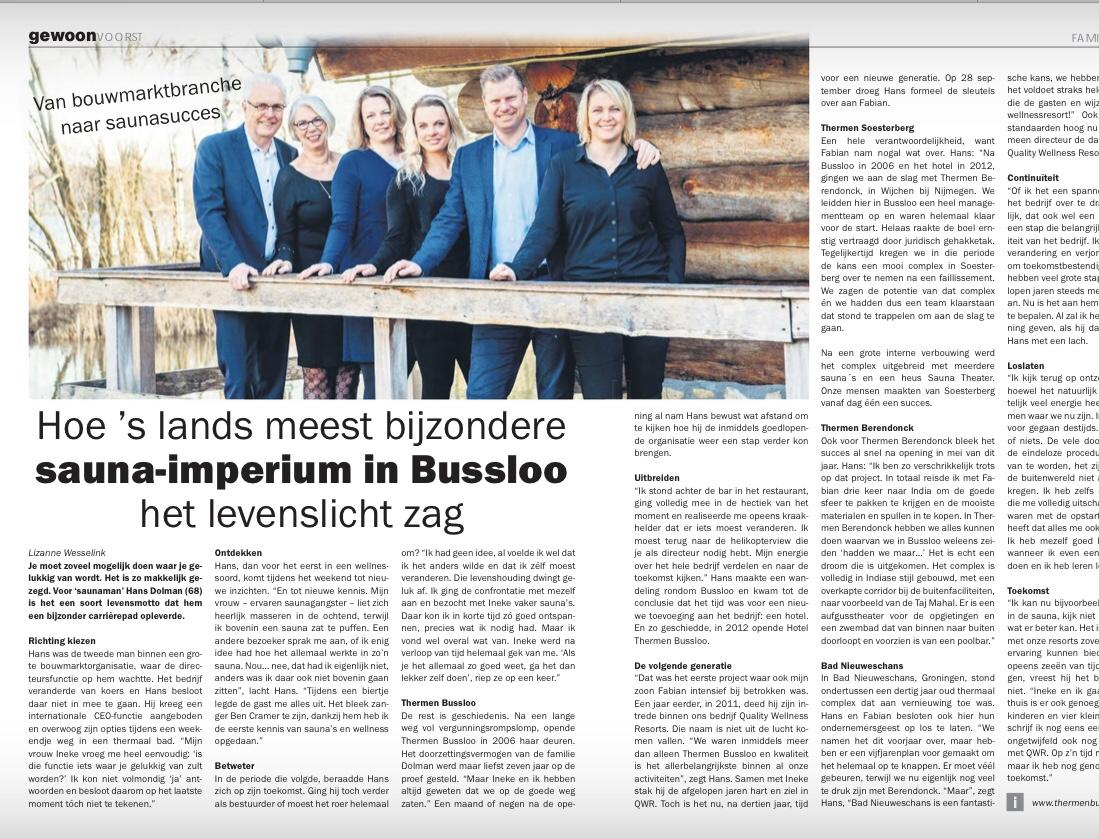 Gewoon voorst persoonlijk verhaal interview Hans Dolman Sauna Thermen Bussloo